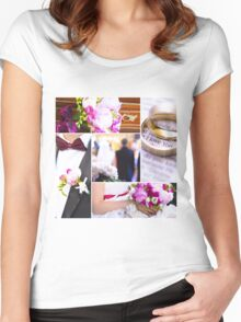 Wedding theme photo collage Women's Fitted Scoop T-Shirt