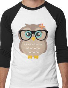 Cute Hipster Girl Owl Men's Baseball ¾ T-Shirt