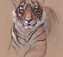 UNFINISHED BUSINESS - Original Tiger Drawing - Mixed Media (acrylic paint & pencil) by Rebecca Rees