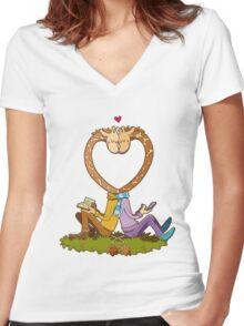 Love Giraffes Women's Fitted V-Neck T-Shirt