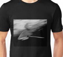 Oceanic White Tip Shark in Action in Black and White Unisex T-Shirt
