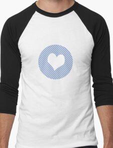 Striped heart light blue   Men's Baseball ¾ T-Shirt