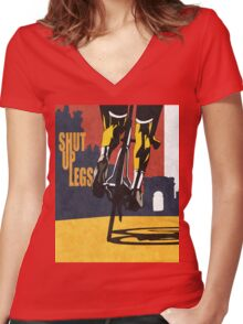 retro styled Tour de France cycling illustration poster print: SHUT UP LEGS Women's Fitted V-Neck T-Shirt