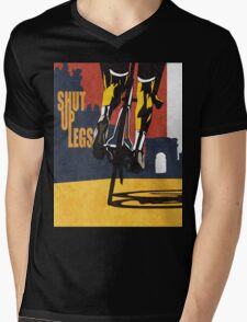 retro styled Tour de France cycling illustration poster print: SHUT UP LEGS Mens V-Neck T-Shirt