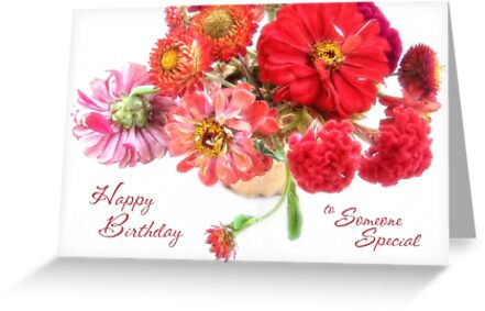 Bright Birthday Zinnia Bouquet for Someone Special by LouiseK