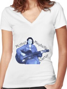 Maybelle Carter - Queen of Country Music Women's Fitted V-Neck T-Shirt
