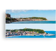 Photo collage with panoramic images from Scarborough, North Yorkshire, England Canvas Print