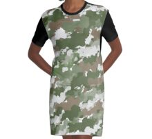 Watercolor Camouflage pattern Graphic T-Shirt Dress