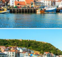 Photo collage with panoramic images from Scarborough, North Yorkshire, England Sticker