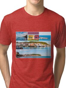 Photo collage with panoramic images from Scarborough, North Yorkshire, England Tri-blend T-Shirt