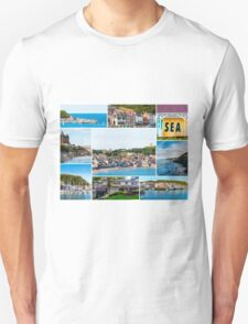Photo collage with panoramic images from Scarborough, North Yorkshire, England Unisex T-Shirt