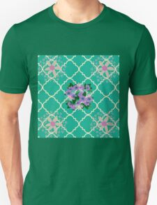Unique,hand painted water color florals on green moroccan pattern Unisex T-Shirt