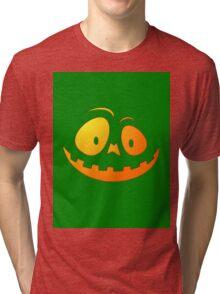 Cheeky Pumpkin Face on Alien Green Tri-blend T-Shirt
