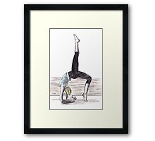 Blonde woman doing yoga Framed Print