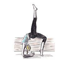 Blonde woman doing yoga Photographic Print
