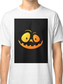 Cheeky Pumpkin Face on Cat Black Classic T-Shirt