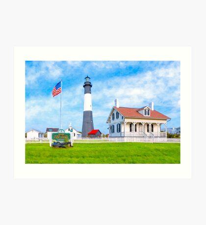 Lighthouse On Tybee Island Reaching Into Morning Skies Art Print