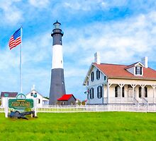 Lighthouse On Tybee Island Reaching Into Morning Skies by Mark Tisdale