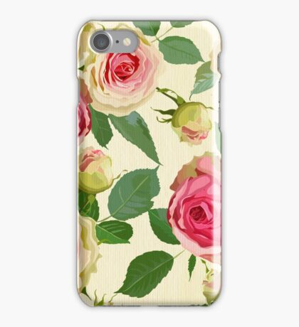 Vintage,shabby chic,painted roses,floral,pattern,elegant,girly iPhone Case/Skin