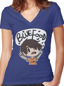 BLUE FOOD Women's Fitted V-Neck T-Shirt