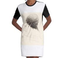 Echinacea-B&W Graphic T-Shirt Dress