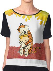 Calvin and Hobbes Hugs Chiffon Top