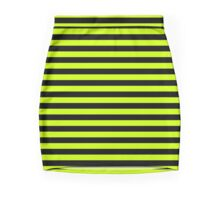 Slime Green and Black Horizontal Witch Stripes Mini Skirt
