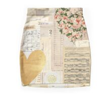 Vintage collage,shabby chic,floral,parchment,typography,rustic,flower Mini Skirt