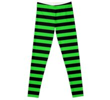 Monster Green and Black Horizontal Witch Stripes Leggings