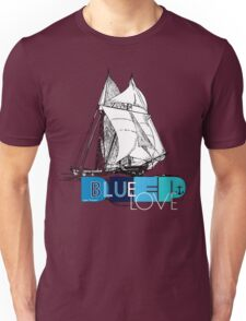 Deep Blue Ocean Love Sailing Design Unisex T-Shirt
