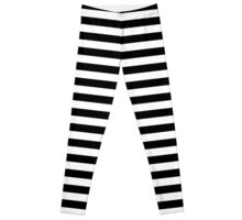 Cat Black and White Horizontal Witch Stripes Leggings