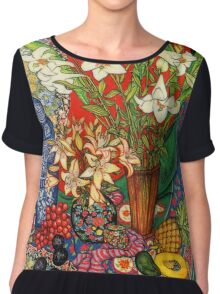 Lilies, Heliconias & Tropical Fruit Chiffon Top