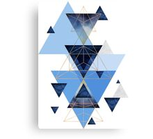 Geometric Triangle Compilation in Blue Canvas Print