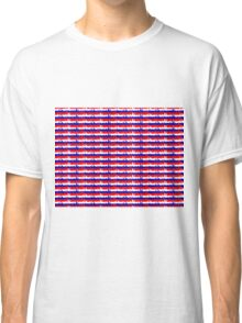 London UK Repeating Skyline on Red White and Blue Union Jack Colored Stripes Classic T-Shirt