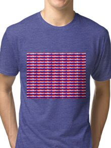 London UK Repeating Skyline on Red White and Blue Union Jack Colored Stripes Tri-blend T-Shirt