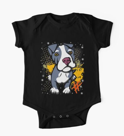 Blue Pit Bull Pup  One Piece - Short Sleeve