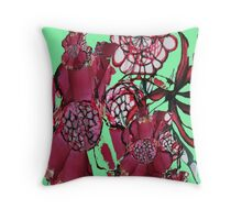 Spiral Flowers Rose Coloured  Throw Pillow