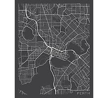 Perth Map, Australia - Gray Photographic Print