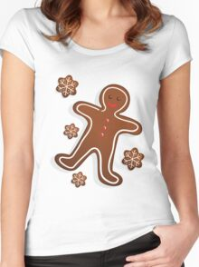 Smiling Gingerbread Man - Christmas Cookies Women's Fitted Scoop T-Shirt