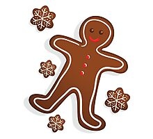 Smiling Gingerbread Man - Christmas Cookies Photographic Print