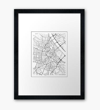 Vienna Map, Austria - Black and White Framed Print
