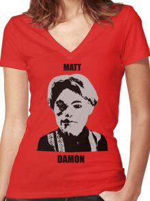 Matt Damon Women's Fitted V-Neck T-Shirt