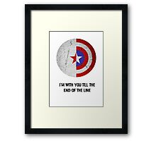 Cap and Bucky Black Text Framed Print