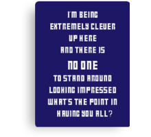 Extremely Clever DOCTOR WHO - White font Canvas Print