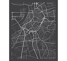 Antwerp Map, Belgium - Gray Photographic Print