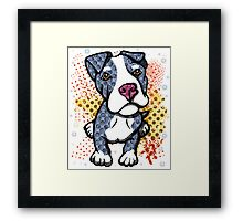 Blue Pit Bull Puppy Graphic Framed Print