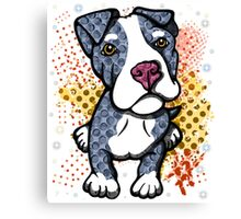 Blue Pit Bull Puppy Graphic Canvas Print