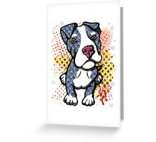 Blue Pit Bull Puppy Graphic Greeting Card