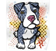 Blue Pit Bull Puppy Graphic Poster