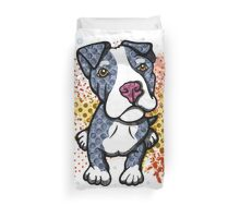 Blue Pit Bull Puppy Graphic Duvet Cover